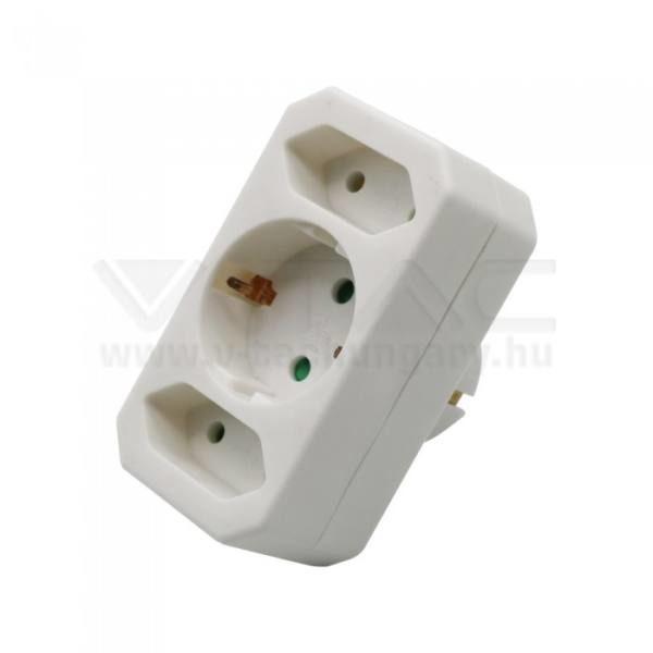 V-TAC 2-1K Hálózati elosztó (2 euro, 1 földelt) 2 x 2.5A 1 x 16A – 8804