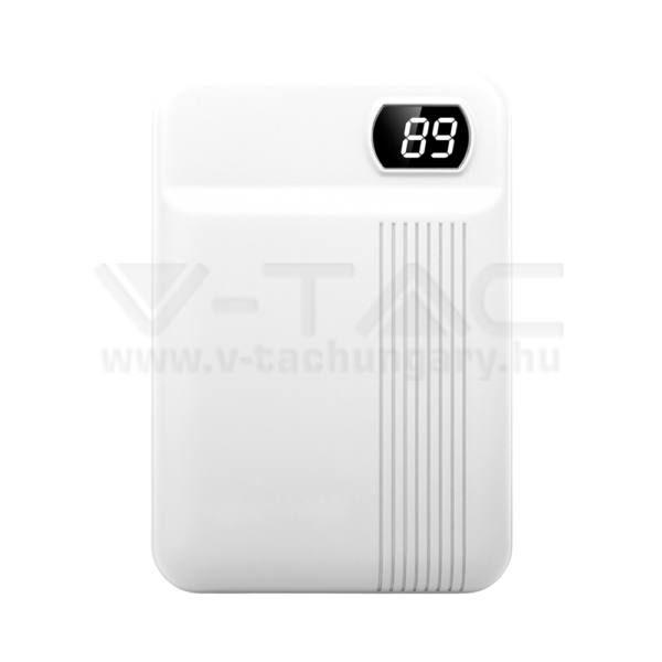 V-TAC Powerbank (hordozható töltő) 10000mAh fehér – 8851