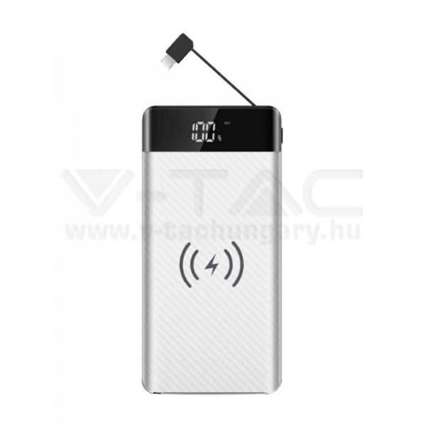 V-TAC POWER BANK (hordozható töltő) beépített micro USB kábellel 20.000 mAh – fehér – 8860