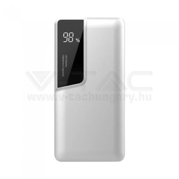 V-TAC POWER BANK (hordozható töltő) 10000mAh digitális kijelző, USB C – fehér – 8870