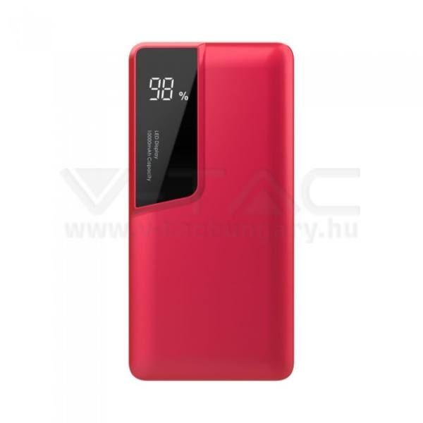 V-TAC POWER BANK (hordozható töltő) 10000mAh digitális kijelző, USB C – piros – 8871