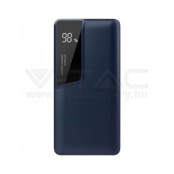 V-TAC POWER BANK (hordozható töltő) 10000mAh digitális kijelző, USB C – Kék – 8872