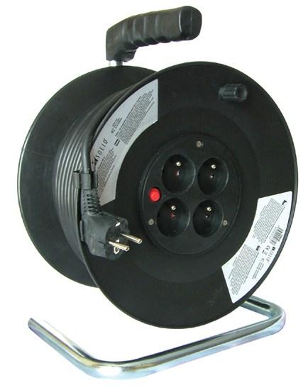 Hosszabbító kábel dobbal 3×1,5mm2, 50 m, 4 aljzat