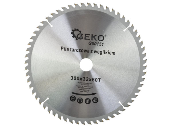 Geko körfűrészlap körfűrész tárcsa vídiás 300×32 mm 60 fog G00151