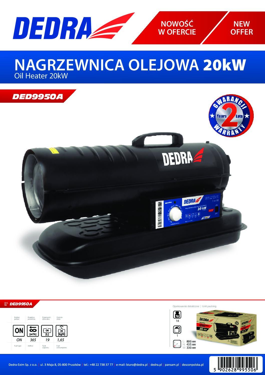 Dedra olajüzemű gázolajos hőlégfúvó 20kW DED9950A