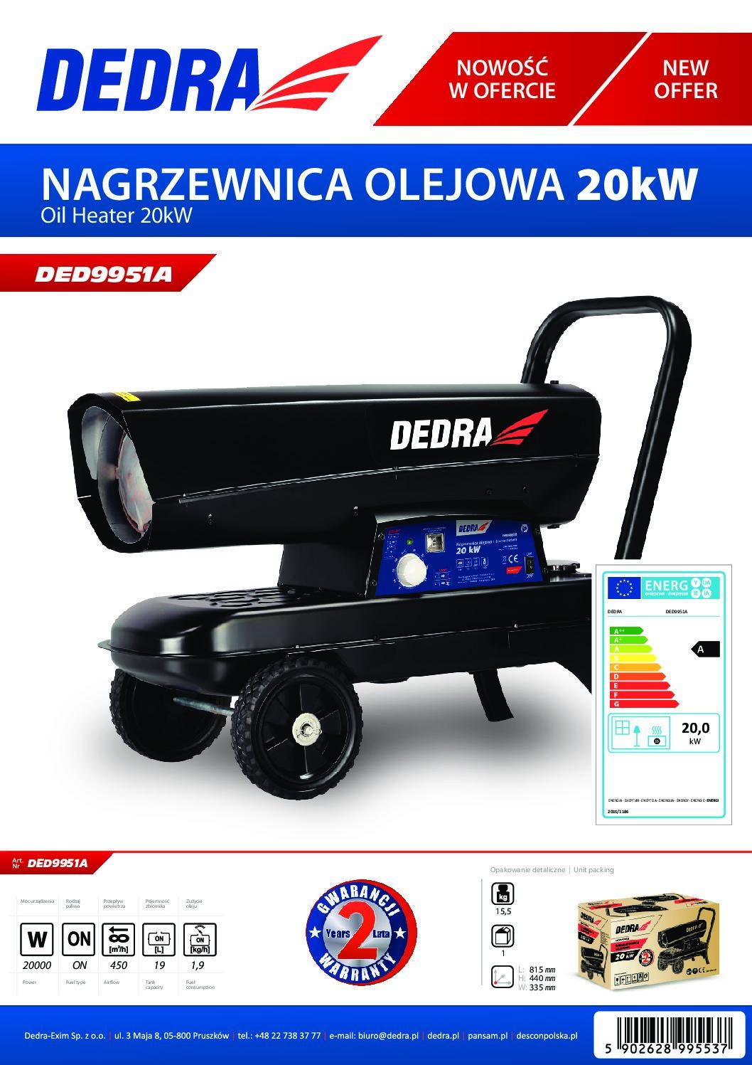 Dedra olajüzemű gázolajos hőlégfúvó 20kW kerekekkel DED9951A