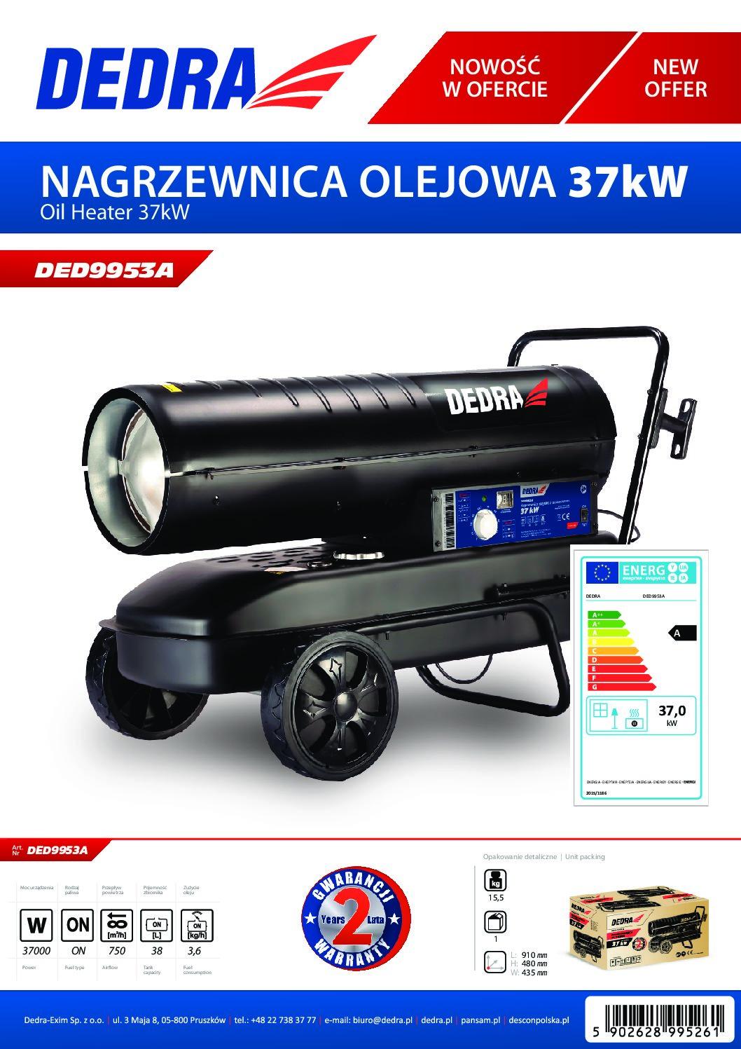Dedra olajüzemű gázolajos hőlégfúvó 37kW kerekekkel DED9953A