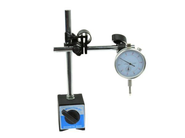 Indikátor óra állvánnyal 0-10 mm 0,01 mm ki/be kapcsolható mágnestalppal G02625