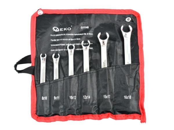 Geko fékcsőkulcs készlet fékcső kulcs 6db-os 8-18mm fékcső kulcs G11148