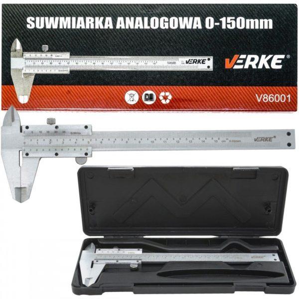 "Verke tolómérő 150 mm / 6"" x 0,02 műanyag dobozzal V86001"
