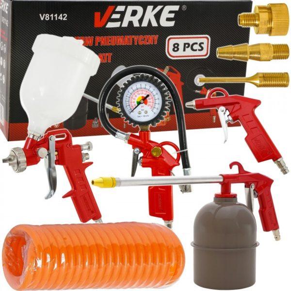Verke 8 db-os levegős kiegészítő pneumatikus festékszóró pisztoly készlet garázs szett v81142