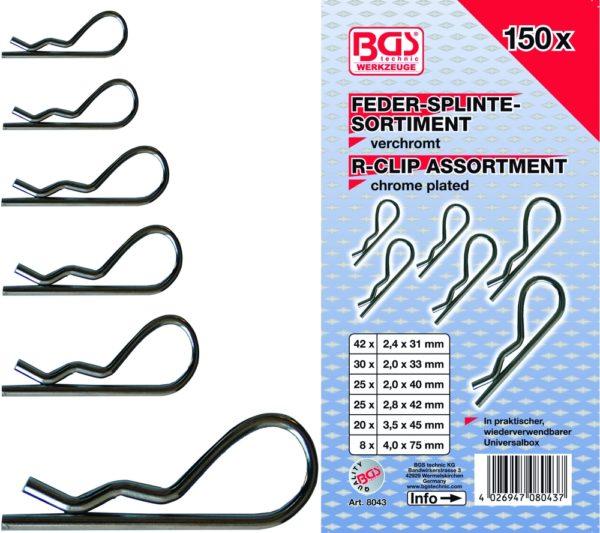 BGS Rugós biztosító szeg készlet 150-részes BGS-8043
