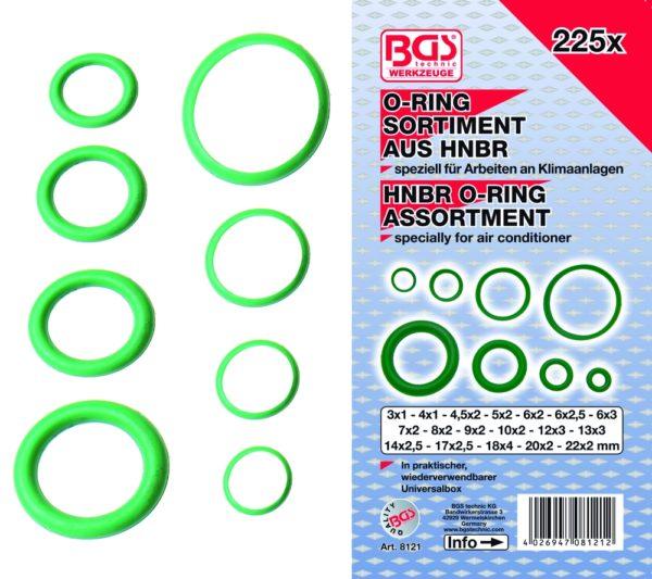 BGS O-gyűrű készlet HNBR légkondicionálókhoz 225 részes BGS-8121