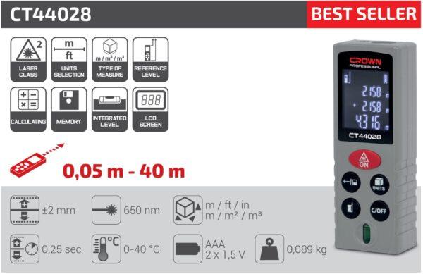 Crown lézeres távolságmérő 40m CT44028