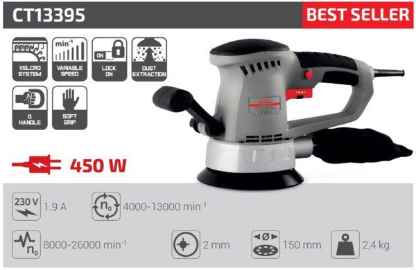 Crown Excentrikus csiszoló excenter csiszoló gép 450W 150mm Velcro korong ipari gép CT13395