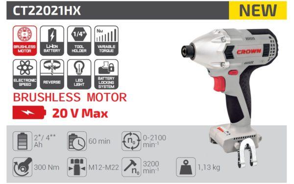 Crown akkus ütvecsavarozó akkumulátoros ütvecsavarozó bitbefogású csak alapgép 1/4 20V CT22021HX