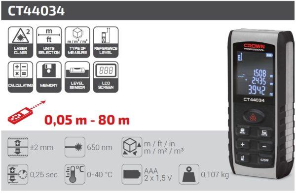 Crown Lézeres távolságmérő távolság mérő lézeres távmérő 80m dőlésérzékelővel ipari gép CT44034