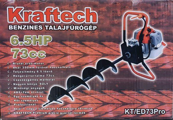 Kraftech benzines talajfúró földfúró talaj fúró gödörfúró gödör fúró 73cm3 6,5le 100mm KT/ED73PRO100